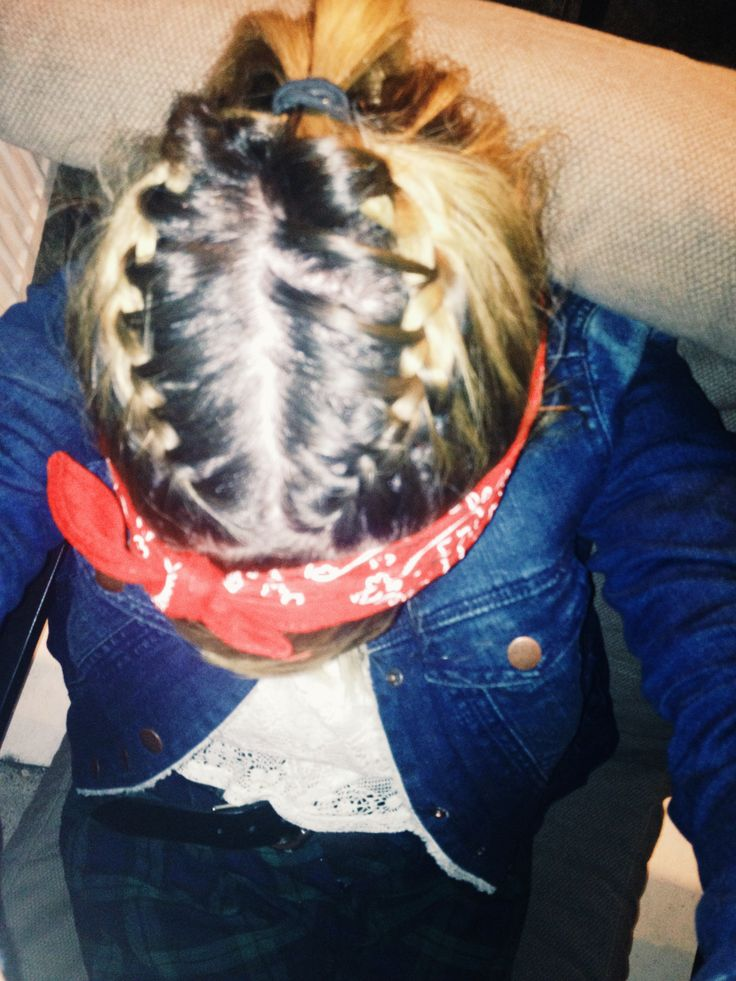2 French plaits going into a ponytail with a bandanna, my friend is ace #braids #plaits #bandanna #hair