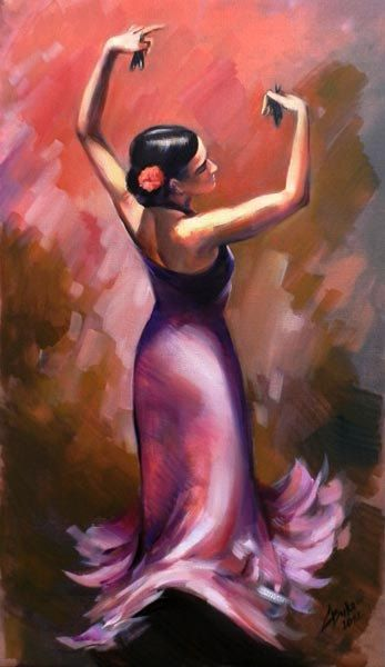 "14x24"" Giclee on canvas HAND EMBELLISHED Flamenco spanish dancer painting/print G.Bukova NR. $39.00, via Etsy."