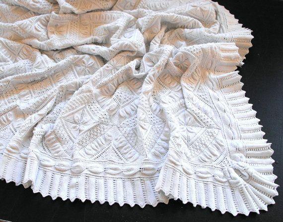 Vintage Leaf Knitting Pattern : RESERVED FOR KATE Vintage French Bed Coverlet Hand Knit ...