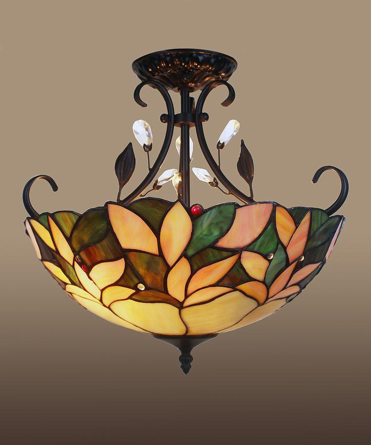 Aika Leafy Tiffany Style Crystal Ceiling Lamp