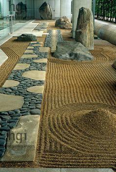 Japanese, zen raked, gravel, path, Design: Shunmyo Masuno The Canadian Embassy, Tokyo Jerry Harpur