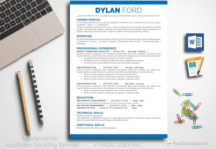 Simple one page resume template dylan ford bestresumes