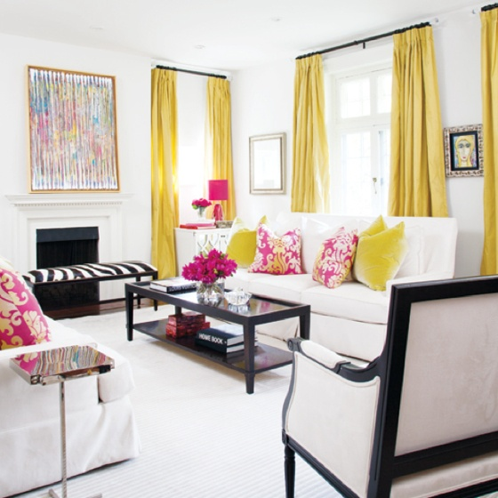 Love the yellow drapes light and bright living room for Family in the living room