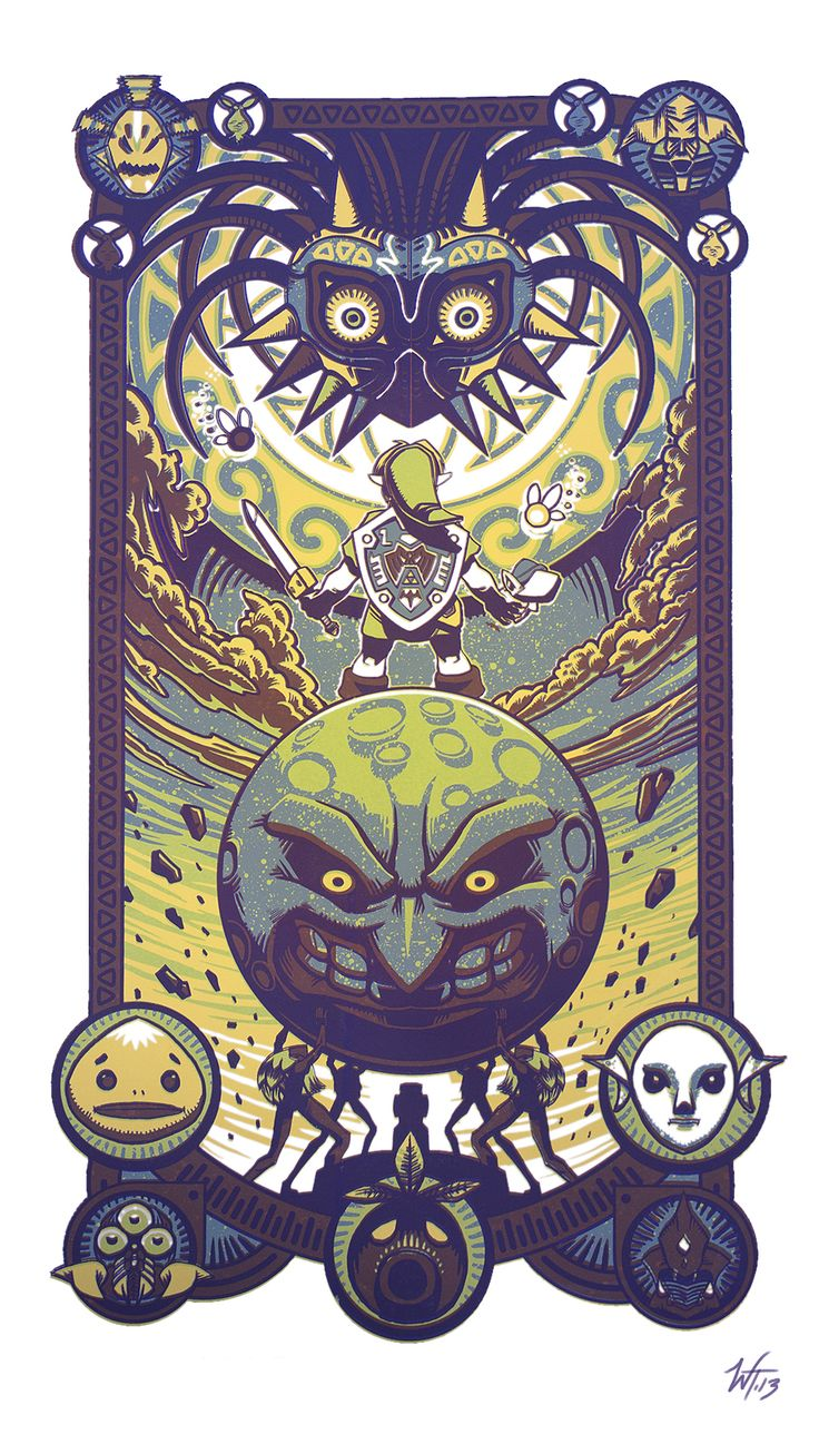 """Majora Defied"" by *WesTalbott  Legend of Zelda fans would appreciate this work. Even as a thumbnail, I saw a Alphonse Mucha/ tarot card style. This is a traditional print, and with the amount of detail, that process had to be difficult!"