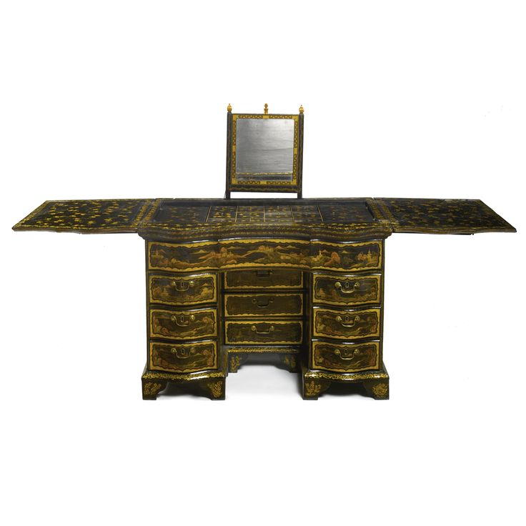 A Rare Chinese Export Parcel Gilt Black Lacquer Dressing Table Late 18th  Century