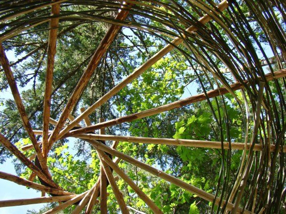 Adding bamboo weaving to the reciprocal roof of the yurt.