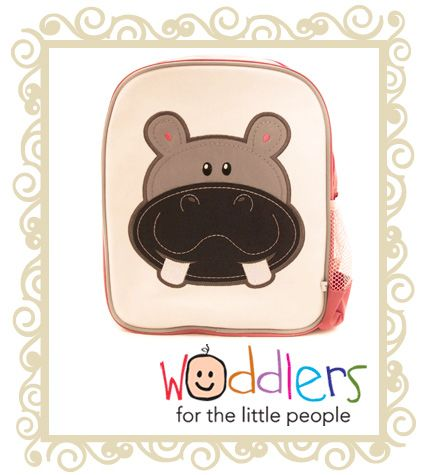 Woddlers Toddler Back pack Hippo  Woddlers back pack - Happy Hippo. These gorgeous backpacks are a great size for toddlers to carry around toys and snacks or for a kinder or daycare bag. * One large zip comparment with a smaller compartment inside. * Easy to clean laminated canvas (front only). * Embroidered design. * Strong mesh pocket. * Created with strong Nylon exterior. * Name tag on back. Bag Dimensions: Height: 30cm Width: 28cm Depth: 12cm  Now $16.95 Was $ 32.95