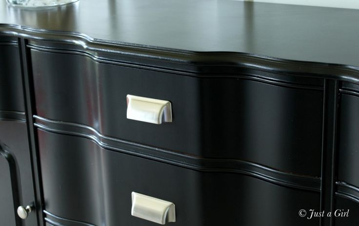 """How to paint furniture black to get that high-end """"Pottery Barn-esque"""" look. These instructions are so good."""