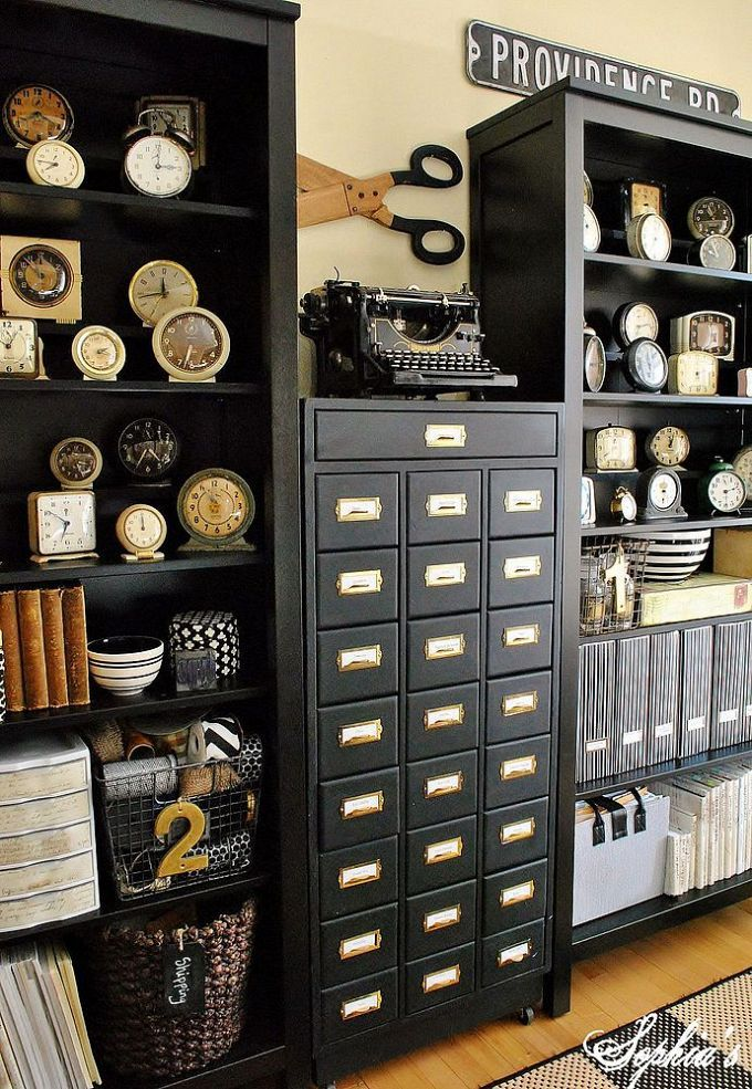 Stylish and Budget-Friendly Tips for Setting up a Craft Room or Office - Love the cabinet in the center and all of the black and white!