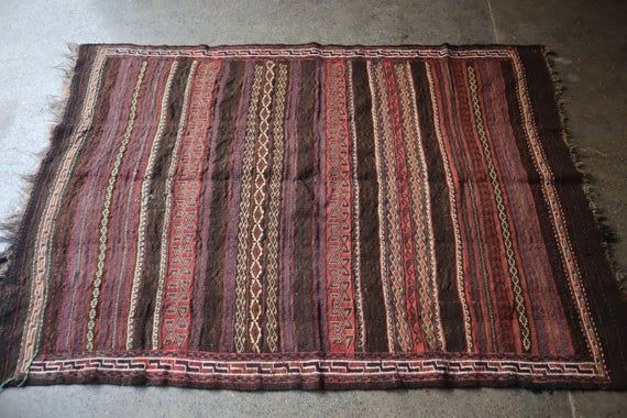 4 x 6.2 FT Semi Antique Aimaki Tribal Full Soumak Kilim Rug,Beautiful Faded Color Qalaty Afghan kili