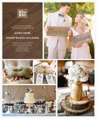 Burlap  rustic wedding theme... Love the pieces of tree trunk under the mason jars