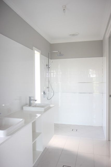Building Our House of Grey and White: Metricon quot;Grandviewquot; floor plan. White subway in shower