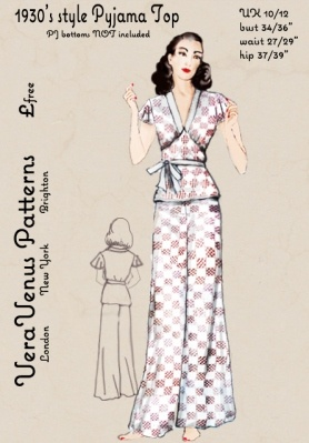Free repro pattern of a 1930s pajama top from Vera Venus Patterns. Nx