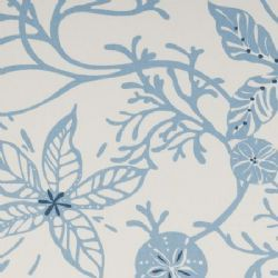 Coral Oilcloth in Marine. NEW.