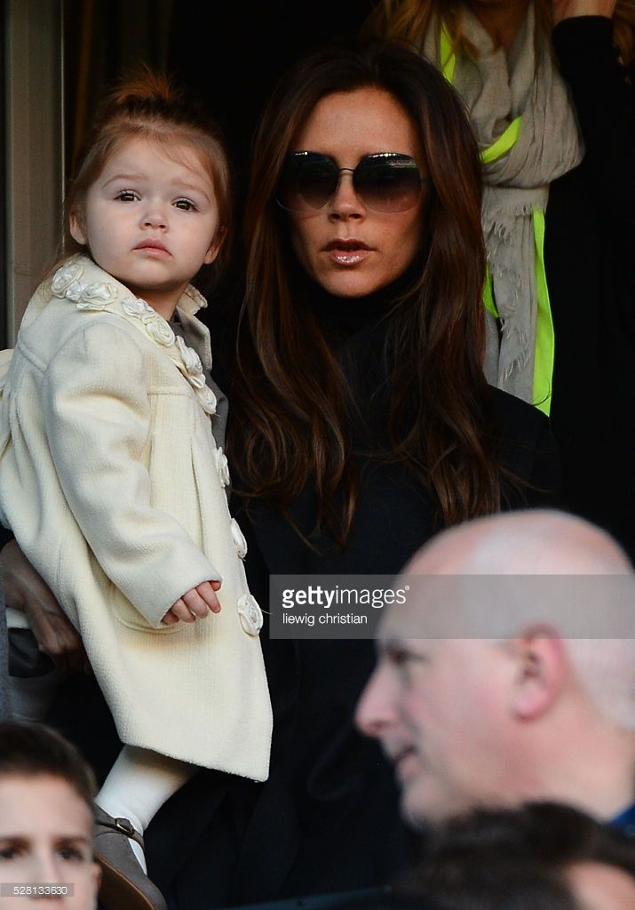 Please Hide children faces prior to publication.Victoria Beckham with her sons Brooklin Joseph, Romeo James, Cruz David and daughter Harper Seven and David Beckham's mother Sandra during the French First League soccer match, PSG vs Nancy in Paris, France, on March 9th, 2013. PSG won 2-1 Photo by Christian.Liewig/CORBIS.COM