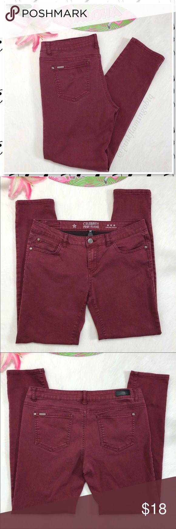 Celebrity Pink Jeans Choco Truffle Skinny Celebrity Pink Jeans Choco Truffle Low Rise Skinny. Skinny jeans that fit like a second skin. Deep burgundy color 5 pocket stying with zip and button closure. Good used condition. Some fading from wash but they had a 'vintage' type fade wash to begin with.  Only flaw is 3 tiny marks on bottom of left leg (pictured) Perfect color for the upcoming season. Measurements in photos. Photos are best descriptors.  OC156 Celebrity Pink Jeans Skinny