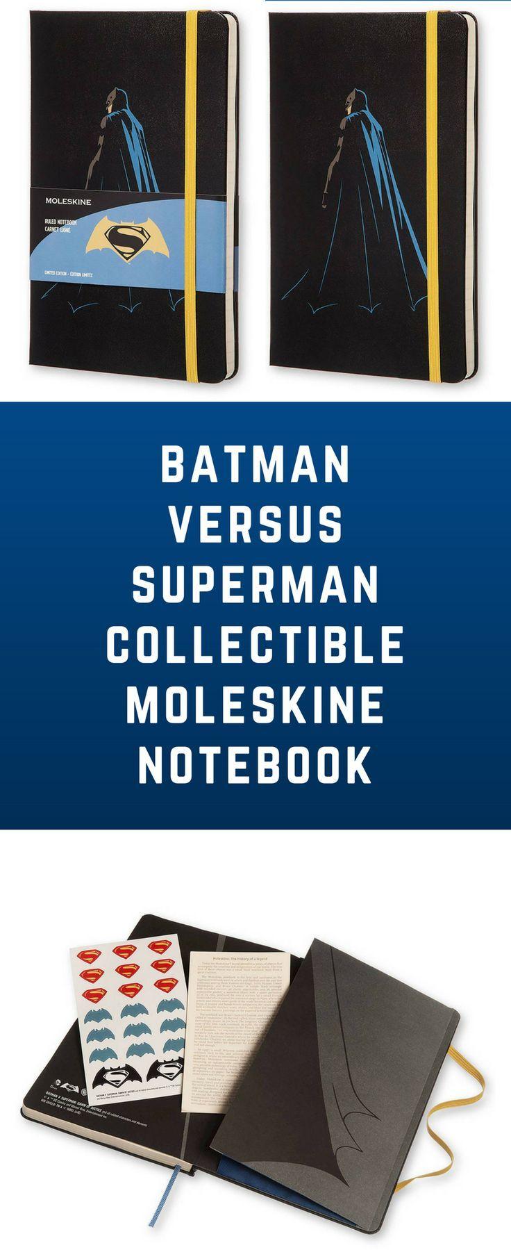 Limited edition Batman versus Superman Moleskine notebook with bonus sticker sheet. #moleskine #batman #superman #batmanvssuperman #batmanversussuperman #notebook #bulletjournal #journal #gift #giftidea #affiliate