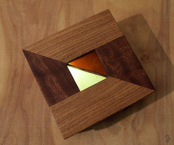 #wood #lamp. #Led #lamp/light wood Oak and Mahogany @Etsy