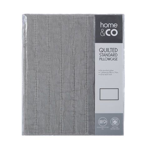 Quilted Standard Pillowcase - Grey