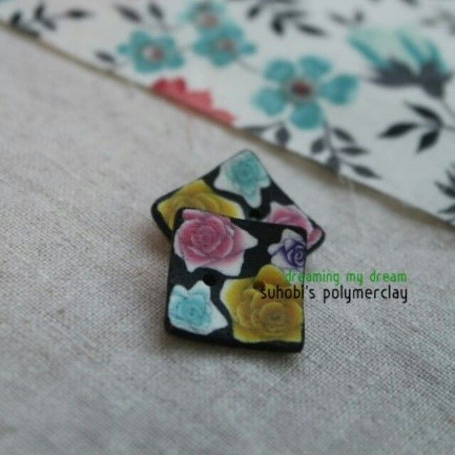 Colorful roses polymerclay buttons