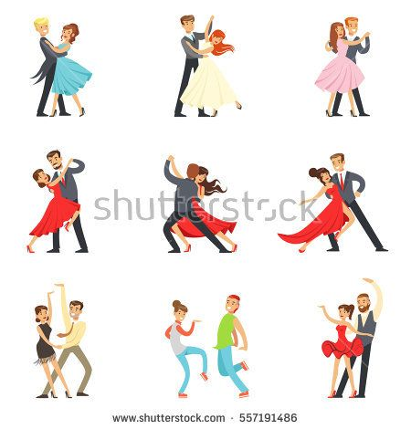Professional Dancer Couple Dancing Tango, Waltz And Other Dances On Dancing Contest Dancefloor Set