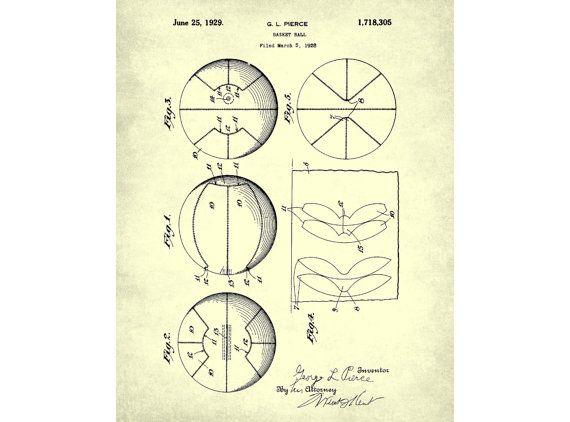 Basketball-Patent Print Sport Kunst von FabVintagePosters auf Etsy