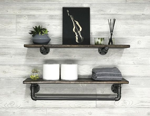 Espresso 7 25 Deep Towel Bar With Shelf Floating Shelf With
