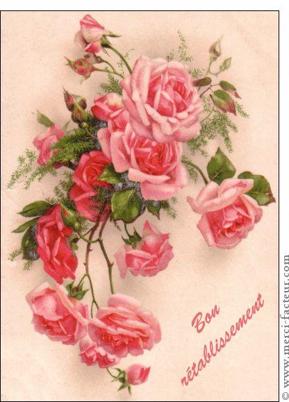 Carte Bon ré tablissement bouquet carte ancienne pour envoyer par La Poste, sur Merci-Facteur !