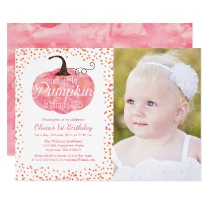 #Watercolor Pumpkin Confetti Girl First Birthday Card - #Halloween #happyhalloween #festival #party #holiday