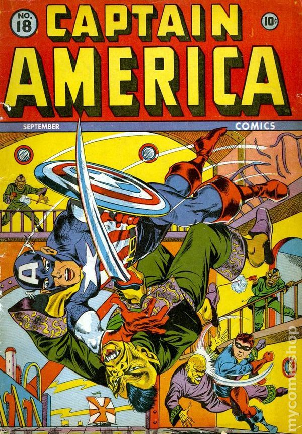 He first appeared in Captain America Comics #1 in March 1941 at Marvel's predecessor Timely Comics. Description from coverbrowser.com. I searched for this on bing.com/images