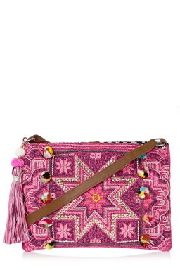 This limited addition crossbody bag has been designed in support of Fashion Targets Breast Cancer - 30% of the price is to the charity. This material bag features an adjustable crossbody strap, tassel charm and highly embroidered design with sequins and pompoms