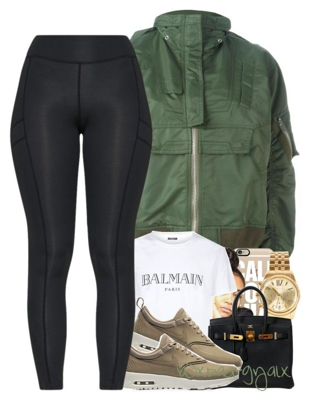 """{I made a decision last night, that I would die for it}"" by xbad-gyalx ❤ liked on Polyvore featuring Sacai, Casetify, Balmain, Michael Kors and Hermès"