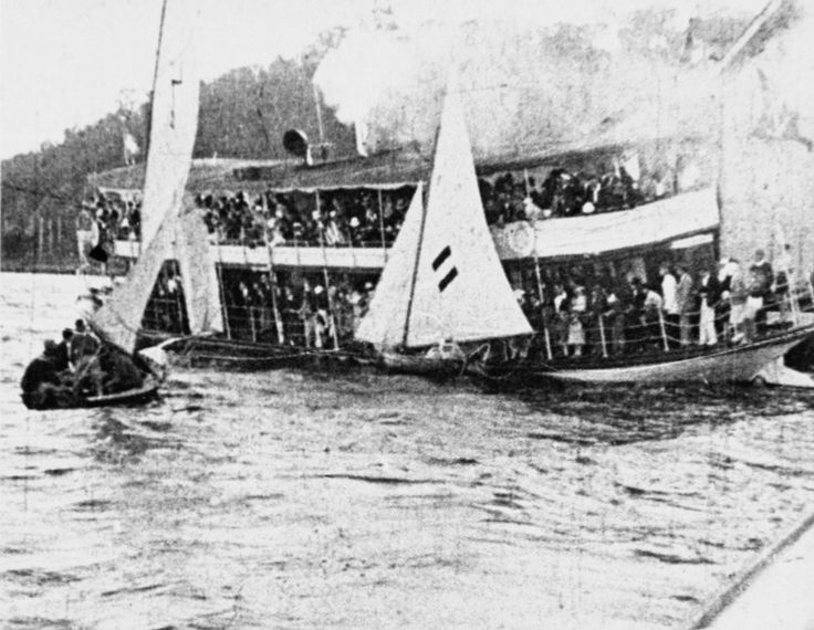 Visitors would flock into Perth from Fremantle and Guildford to create a festive atmosphere. Food was sold from stalls along the River's edge and around the jetties. Races were organized for all types of craft  Judges sat on a steamer moored in the River and the Volunteer Band usually played on another boat. Novelty races such as the Duck Hunt and a greasy pole hung over the River concluded festivities.6106B_27_ed3.jpg (750×581)