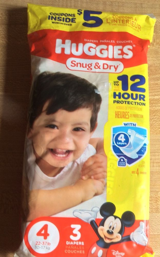 Huggies Snug and Dry Diapers Size 4  New 3 In Pack 12 Hour Protection #Huggies