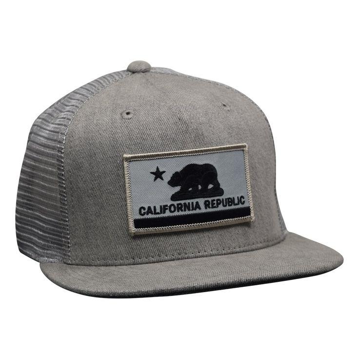 California Republic Flag Trucker Hat by LET'S BE IRIE - Gray Denim