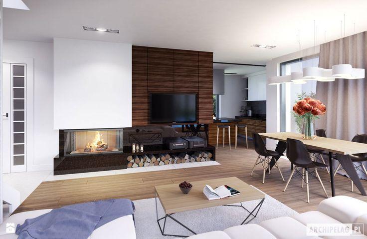 Projekt Domu Olaf G2 ENERGO PLUS - Wizualizacja Salonu - zdjęcie od Pracownia Projektowa ARCHIPELAG - Salon - Styl Nowoczesny - Pracownia Projektowa ARCHIPELAG