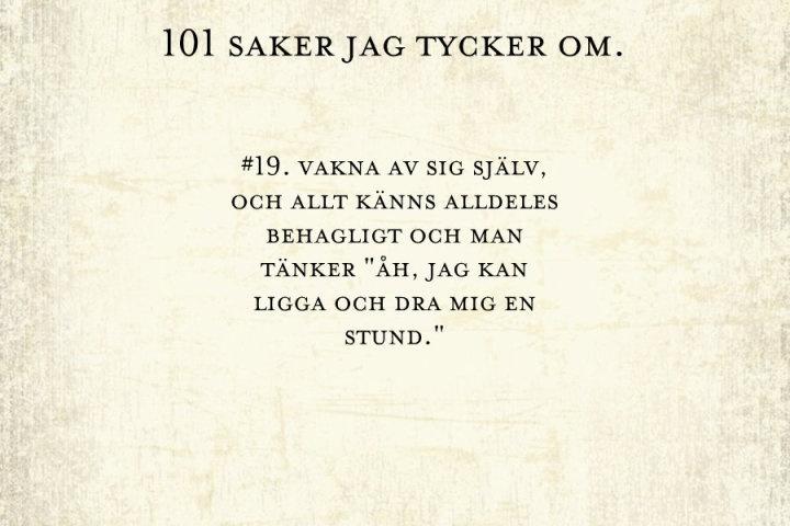 #19, att vakna av sig själv.