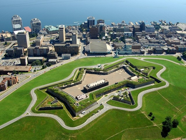 Great ariel shot of the Halifax Citadel with Halifax Harbour in the background.