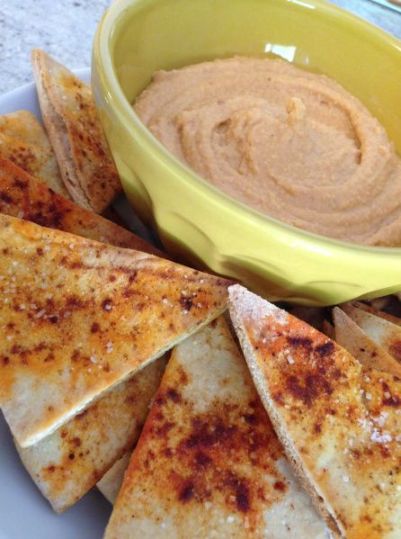 Chipotle Hummus with Smoky Baked Pita Chips