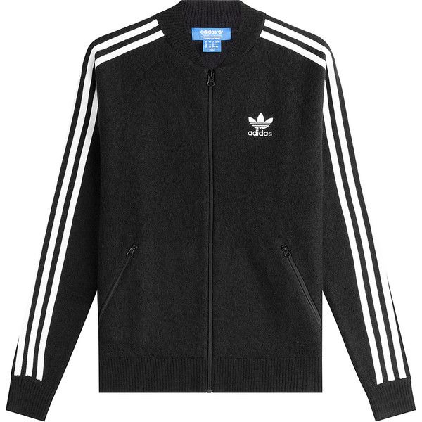 Adidas Originals Zipped Wool Jacket (£81) ❤ liked on Polyvore featuring outerwear, jackets, black, zip front jacket, adidas originals jacket, striped jacket, zipper jacket and adidas originals