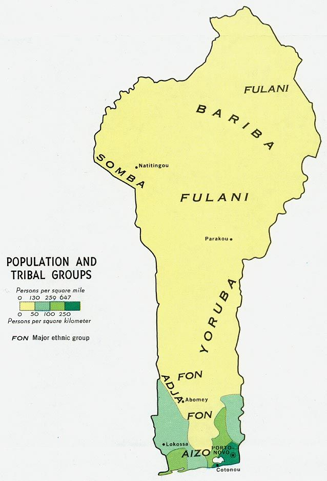 Benin - Population and Tribal Groups 1970