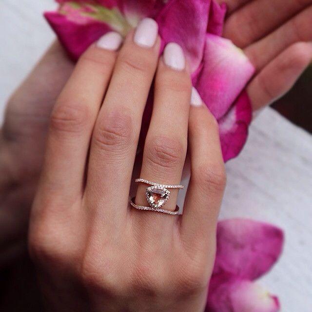 14kt gold and diamond Double Band Champagne Garnet Trillion ring – Luna Skye by Samantha Conn