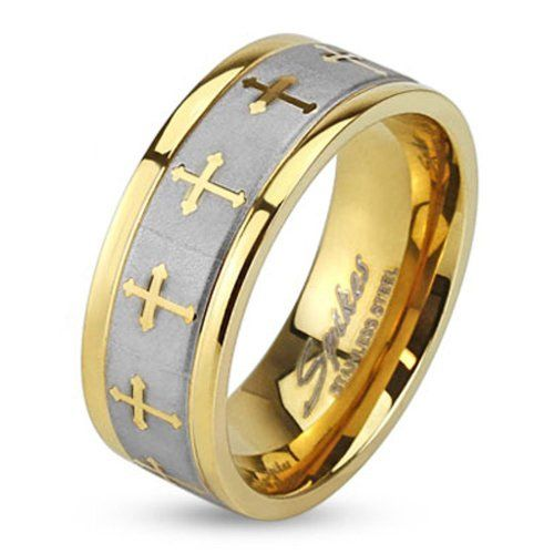 Stainless Steel Ring Celtic Cross Gold IP Ring with Brushed Center Two Tone Ring; Sold as 1 Piece
