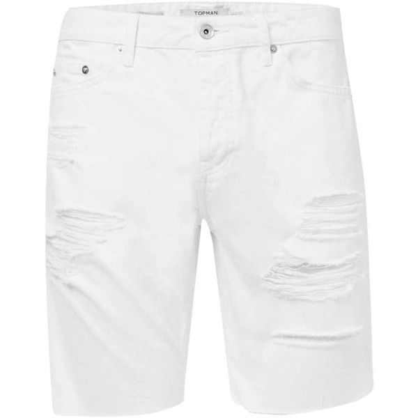 TOPMAN White Ripped Slim Denim Shorts ($45) ❤ liked on Polyvore featuring men's…