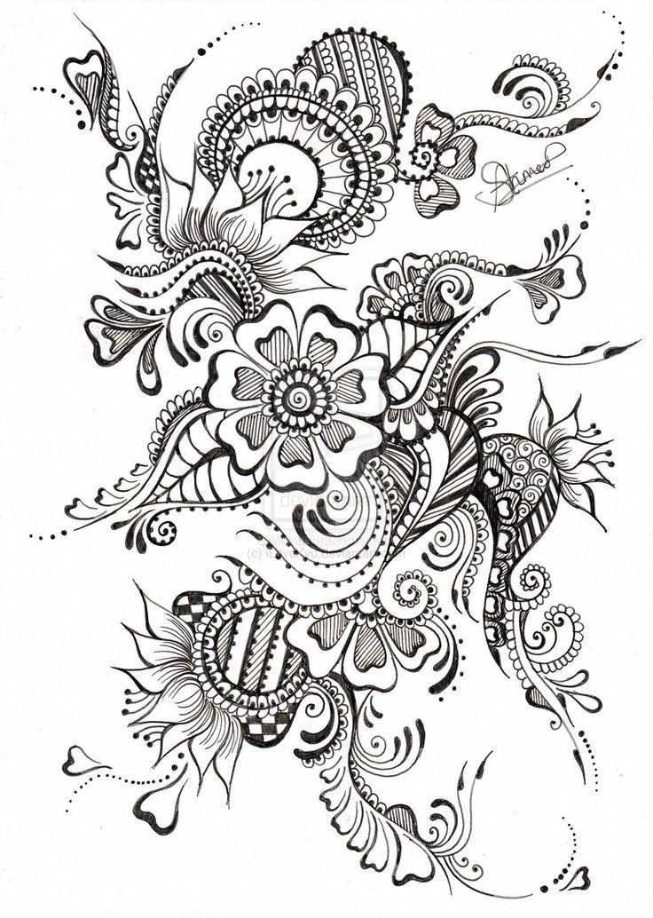 pentekening bloemen, vlinder                                                                                                                                                                                 More