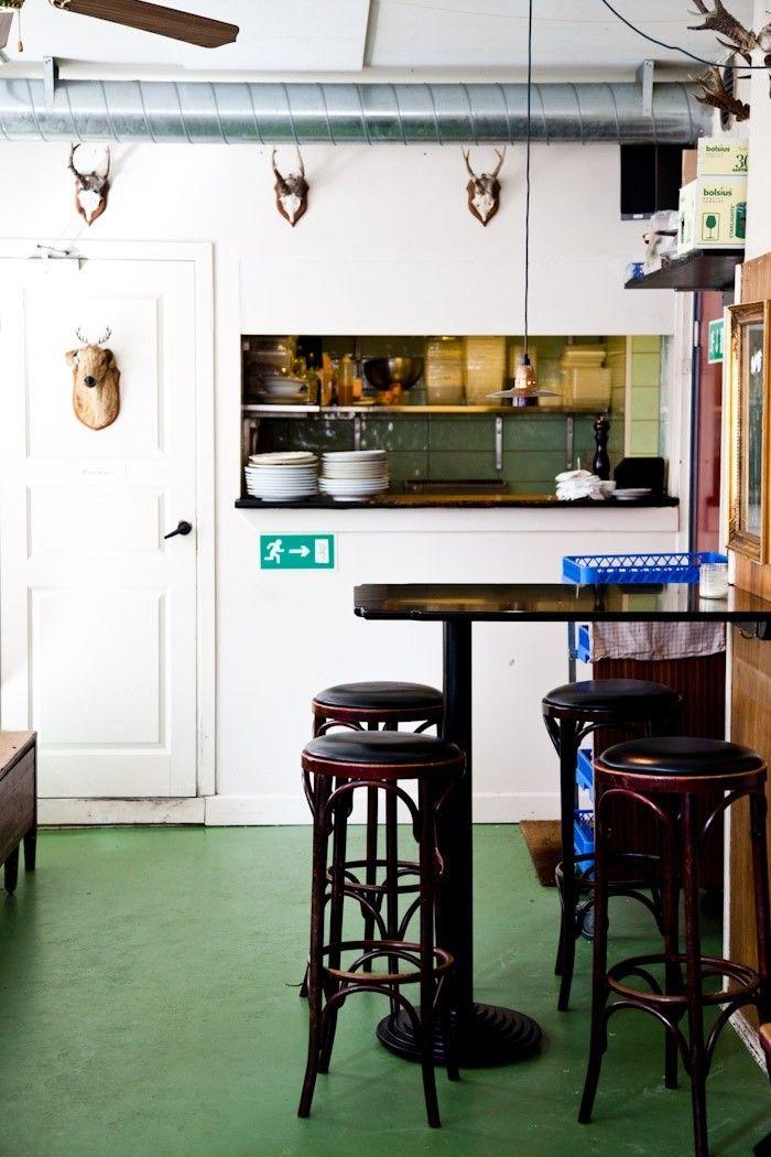 Hm, green Marmoleum might be nice in the kitchen... Green Floor | Remodelista