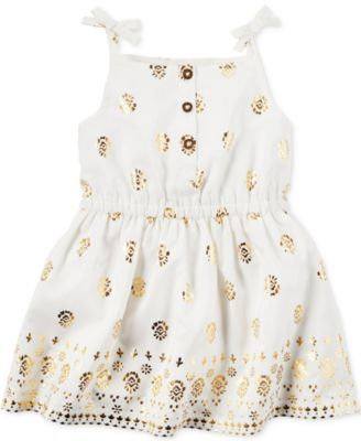 Carter's Baby Girls' White & Gold Sundress