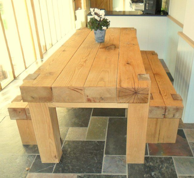 Oak railway full sleeper dining table for sale