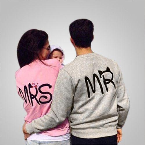 Cute Mr Mrs Printed Couple Sweatshirts