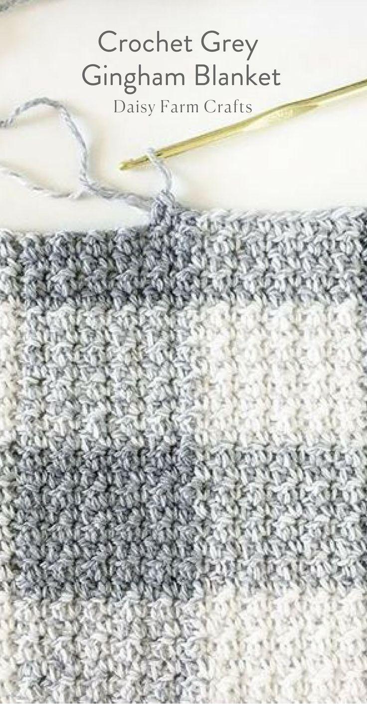 Free Pattern - Crochet Grey Gingham Blanket | Ganchillo | Pinterest ...